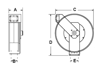 Dimensions for CS Series Reels from Hosetract