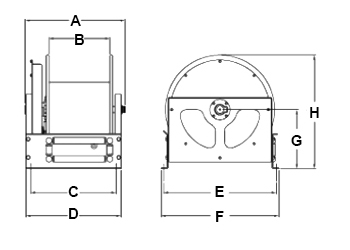 Dimensions for DS Series Reels from Hosetract
