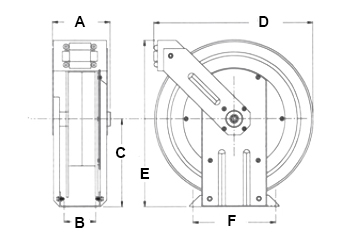 Dimensions for G Series Reels from Hosetract