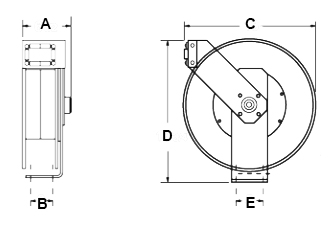 Dimensions for Oxygen/Acetylene Series Reels from Hosetract