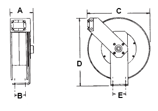 Dimensions for B Series Reels from Hosetract