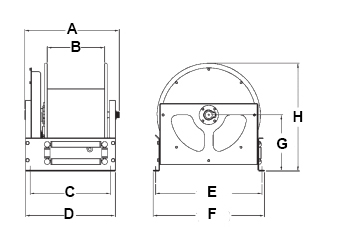 Dimensions for D Series Reels from Hosetract