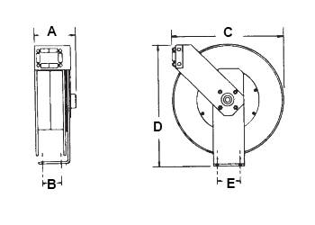 Dimensions for LB 235 Reels from Hosetract