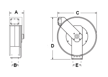 Dimensions for MC 500 Reels from Hosetract