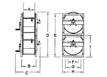 Dimensions for Stack Frame Series Reels from Hosetract