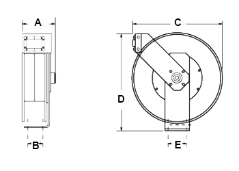 Dimensions for UTL 250 OA Reels from Hosetract