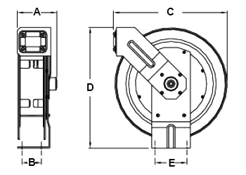 Dimensions for UTL 335 Reels from Hosetract